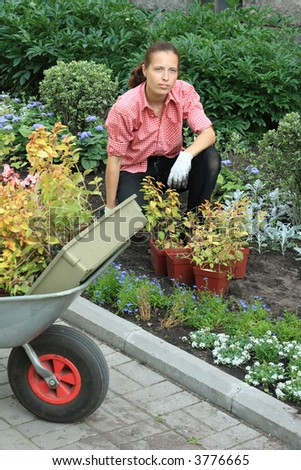 Young woman planting flowers in a garden, with a fragment of wheelbarrow on a foreground - stock photo