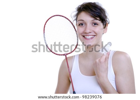 young woman plays badminton - stock photo