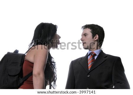 young woman plays with businessman, that he is admired... - stock photo