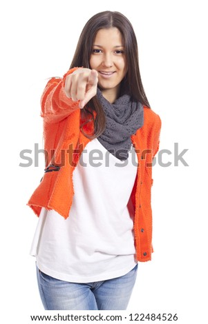 Young woman pointing finger... - stock photo