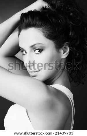 Young woman portrait. Black and white.