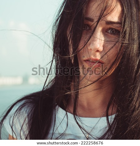 young woman portrait close up - stock photo