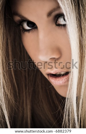 young woman portrait, close up - stock photo