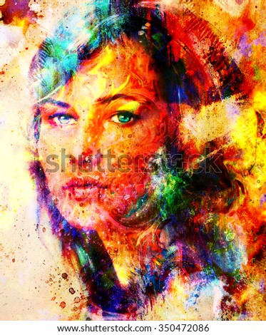 Color Painting young woman portrait color painting on stock illustration