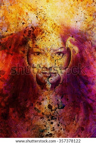 Young woman portrait, color painting on abstract background, computer collage. Eye contact
