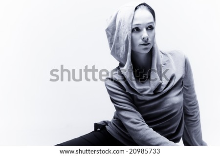 young woman portrait in black and white - stock photo