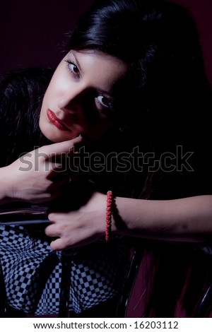 young woman portrait in dark