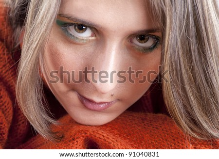 young woman portrait in studio - stock photo