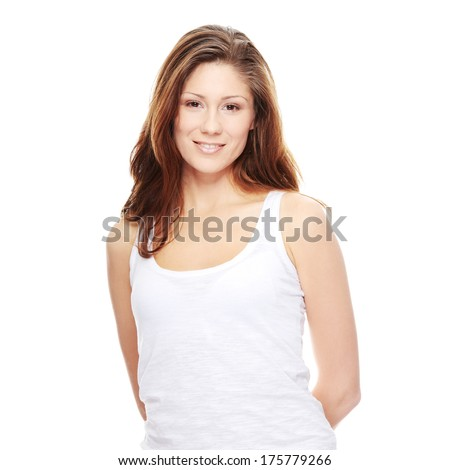 Young woman portrait, over white background