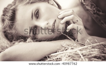 Young woman portrait. Sepia colors. - stock photo