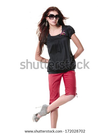 young woman portrait wearing sunglasses  - stock photo