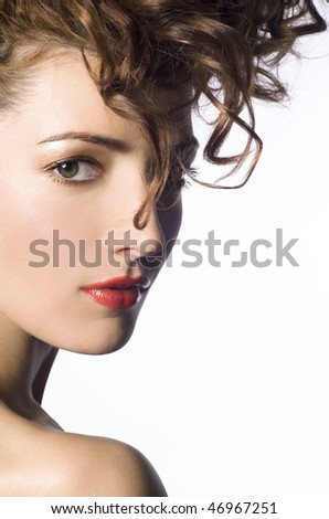 Young woman portrait with trendy hairstyle - stock photo