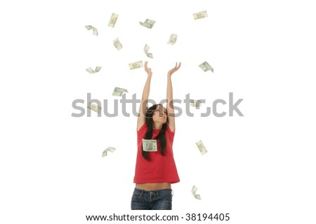 Young woman portraying a successful business woman with a lot of polish money - stock photo