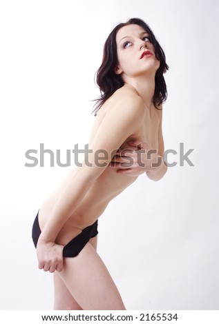 young woman posing in black shorts - stock photo