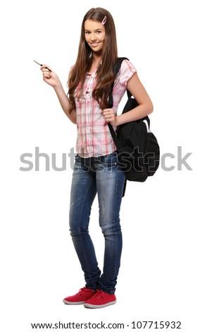 young woman posing in studio - stock photo