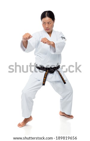 Young woman practicing martial arts - stock photo