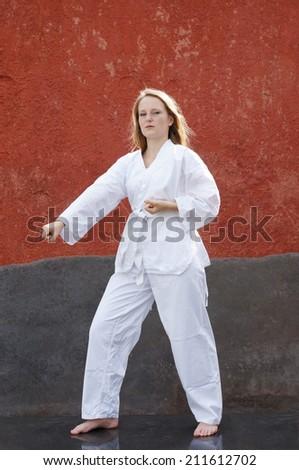 young woman practicing taekwondo martial art - stock photo