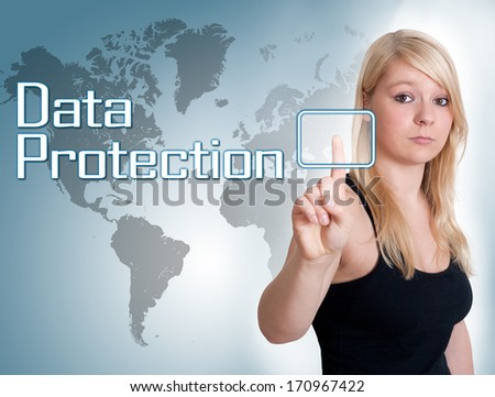 Young woman press digital Data Protection button on interface in front of her - stock photo