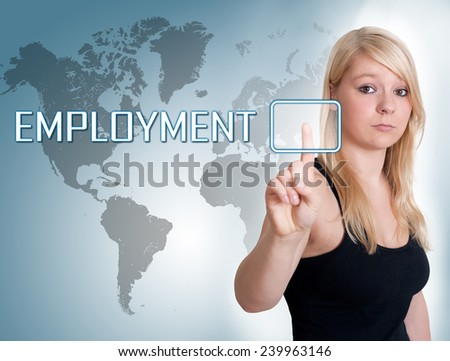 Young woman press digital Employment button on interface in front of her - stock photo