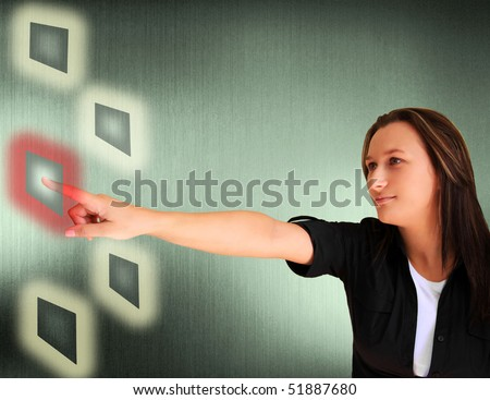 Young woman pressing a solution button - stock photo