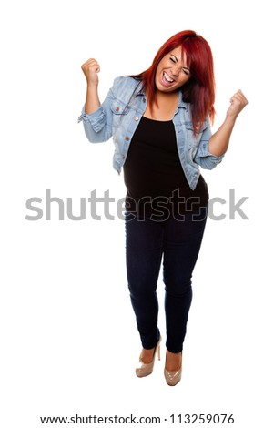Young woman proudly cheering after weight loss isolated on a white background. - stock photo