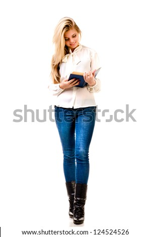 young woman reading book isolated on a white background - stock photo