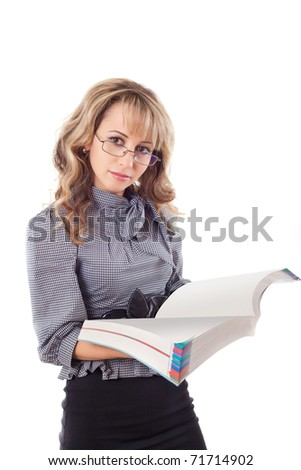Young woman reading book , isolated on white background