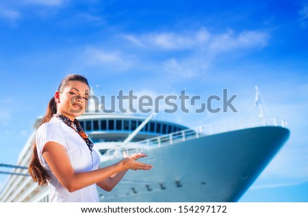 Young woman ready to travel on cruise ship - stock photo