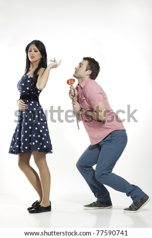 young woman refusing apologies from her man - stock photo