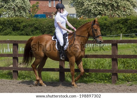 Young woman riding her horse through Dressage practice.