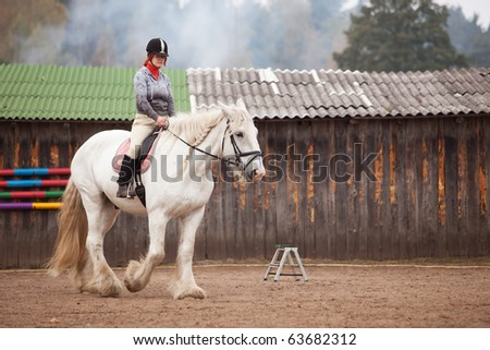 Young woman riding shire horse in arena - stock photo