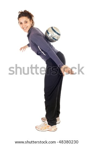 young woman rolling soccer ball on back isolated on white - stock photo