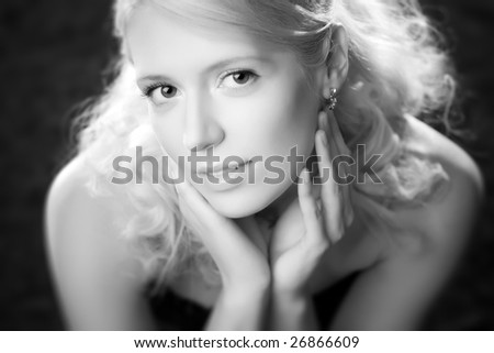 Young woman romantic portrait. Black and white. - stock photo