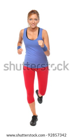 Young woman running on a white background. - stock photo