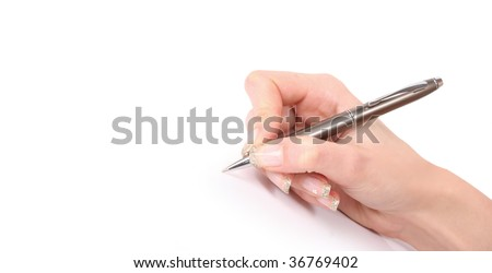 young woman's hand is writing