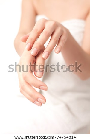 Young woman`s hands - stock photo
