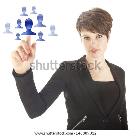 Young woman selecting blue virtual friends isolated on white background - stock photo