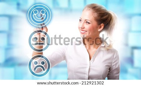 young woman selecting the current mood - stock photo