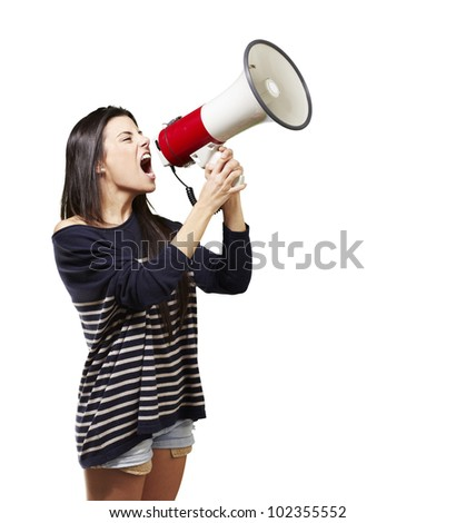 young woman shouting with a megaphone against a white background