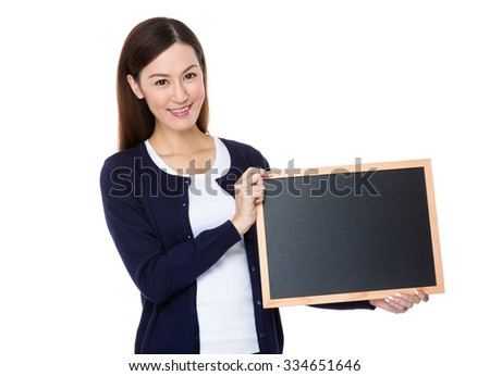 Young Woman show with blank chalkboard