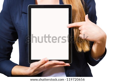 Young woman showing a tablet PC, a close-up on a white background. - stock photo