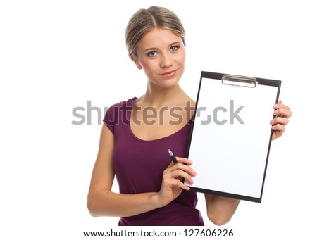Young woman showing blank white paper, on white