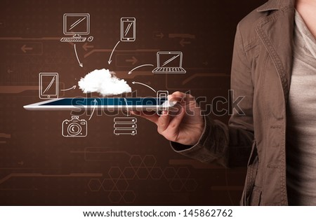 Young woman showing hand drawn cloud computing