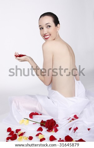 Young woman showing her beautiful body care - stock photo