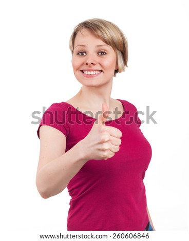 Young woman showing her thumb up in a confident attitude, isolated on white - stock photo