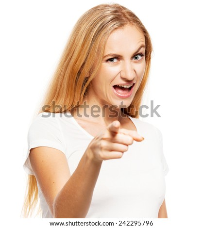 Young woman showing thumbs up to the camera. Female showing to you - stock photo