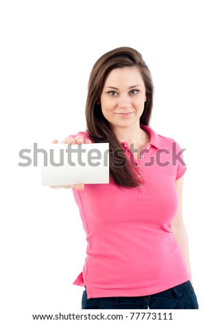 Young woman shows white business card