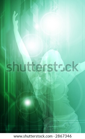 young woman silhouette with hands in the air dancing in the sun, spring time and happyness - stock photo