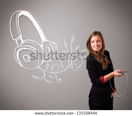 young woman singing and listening to music with abstract headphone getting out of her mouth - stock photo