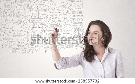Young woman sketching and calculating thoughts and ideas